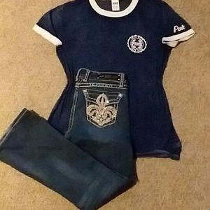 LA Idol jeans & PINK t-shirt